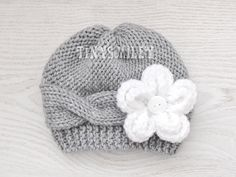Knit Baby Girl Hat, Cable Knit Baby Hat, Removable Flower, Gray Knit Baby Girl Hat, Gray Knit Cable Baby Beanie, Newborn Cable Hat, Hats by TinySmiley on Etsy https://www.etsy.com/listing/182264989/knit-baby-girl-hat-cable-knit-baby-hat