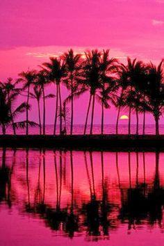Tropical beach escape - Hawaii pink sunset