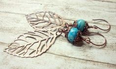 Long Copper Leaf Earrings, Blue Agate Earrings, Wire Wrapped Earrings by Salakaappi on Etsy