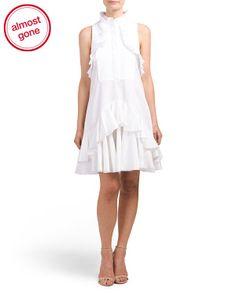 Made In Italy Sleeveless Pleated Bib Ruffle Dress