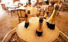 Champagne kept handy in a London Restaurant...yummm