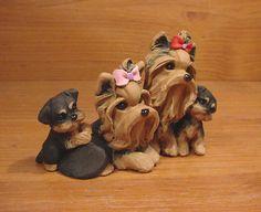 Original Yorkie Yorkshire Terrier Family Dog Sculpture Claydogz Mandyo OOAK | eBay