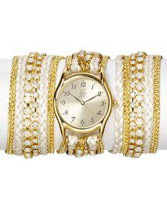 Sara Designs Swarovski Crystal & Leather Wrap Watch