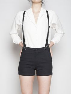 Aspen Black high rise suspender shorts, $128