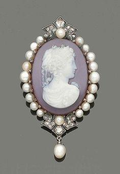 Late 19th Century Pearl, Diamond And Hardstone Cameo