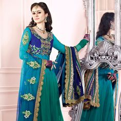 Shaded Sky Blue and Green Net Kameez with Churidar and Lehenga