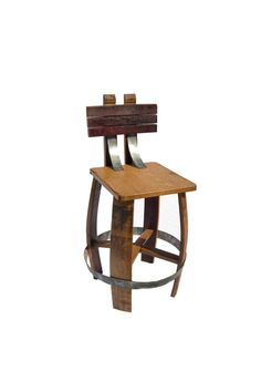 Wine Barrel Stave Stool with back Bar Stool With by BarrelArtLLC
