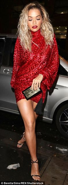 Time to party: The RIP hitmaker, 27, displayed her enviably leggy frame in a striking crim...