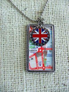 Union Jack Map Necklace