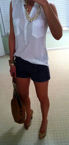 Sleeveless blouse and dark shorts. Even reverse it with navy top, white shorts and flats. I love the necklace as well