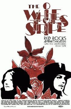 Concert poster for the White Stripes at Red Rocks in Morrison, CO in 2005. 11x17 reprint on card stock.