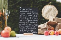 Chalk board and poetry ideas (plus like the fruit as decoration)