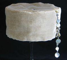 Handmade Smoking Cap - Lounging Hat - Pure Silk Beige Velvet