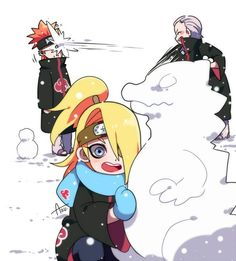 Deidara and Hidan are mischievous children but I love them! Credit to artist, the people who pinned this, and Jashin!) They all look so cute but Pain is gonna try to kill Hidan! -------------- Do you like snow❄? Naruto Shippuden Sasuke, Itachi Uchiha, Anime Naruto, Comic Naruto, Naruto Cute, Naruto And Sasuke, Gaara, Manga Anime, Pain Naruto