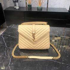 Ysl Saint Laurent college medium chain shoulder bag apricot gold Saint Laurent Bag, Chain Shoulder Bag, Ysl, Saints, College, Medium, Bags, Fashion, Handbags
