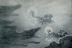 Sol the sun goddess and Mani the moon god are chased across the sky by wolves.  Illustration from my own copy of  Myths of the Norseman by H. A. Guerber published in 1908.