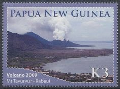 Papua New Guinea eruption of Tavurvur. (Turanguna on the left). Papua New Guinea, Geology, Postage Stamps, World, Volcanoes, Nature, Pictures, Ideas, Seals