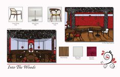 Lost Woods: Artisan Cafe & Book Store-This is a page from my portfolio showing the furniture and textile selection for two rooms in the Lost Woods.