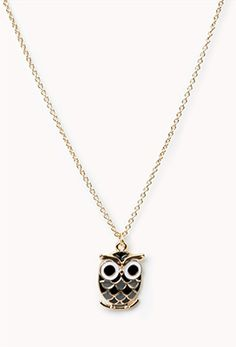 Forever 21   Lacquered Owl Charm Necklace   $2.80