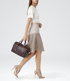 Womens Neutro textura falda de cuero - Reiss Hayden