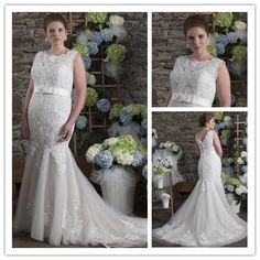 Aliexpress.com   Buy Mermaid sleeveless appliques scoop organza bridal gown  vestido de novia plus size romantic plus size wedding dress 2015 NT 038  from ... 1cfa06d6e636
