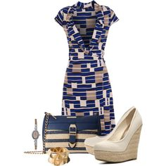 Office outfit: Blue - Beige by downtownblues on Polyvore