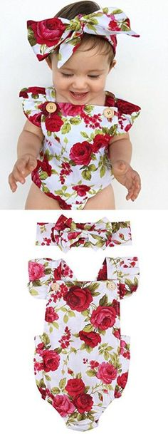 Newborn Kids Baby Girls Clothes Floral Jumpsuit Romper Playsuit + Headband Outfits (6-12 Months)