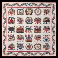 """Baltimore Album Quilts were made in Baltimore, Maryland around 1846 through 1853. They are appliquéd quilts (applying a piece of fabric by sewing it onto a base as opposed to piecing where the quilter joins pieces). The word """"Album"""" in Baltimore Album quilts refers to a collection of blocks. Usually there are no two blocks the same in the quilt."""