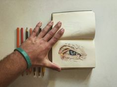 Realistic eye photorealistic drawing colour old man