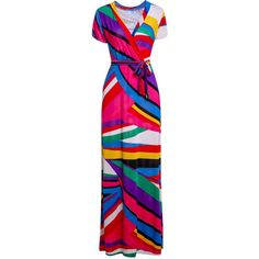 Sexy Plunging Neck Short Sleeve Colorful Printed Women's Maxi Dress - COLORMIX L