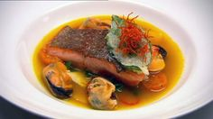 Smoked River Trout, Mussels, Turmeric and Lemongrass Broth