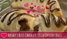 Hershey's Bliss™ Chocolate Filled Crescent Rolls are the perfect Valentine's Day treat! Warmy, flaky Pillsbury Crescents filled with chocolate - the perfect sweet treat!