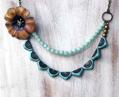 Spring Floral Pennant Necklace  Aqua Mint Green  by MySelvagedLife, $45.00