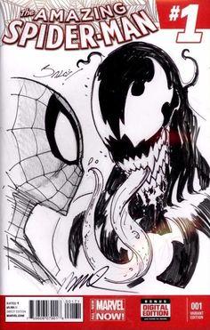 Spider-Man by Humberto Ramos and Venom by Mark Bagley