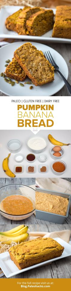 Made with pumpkin, banana, and a hint of cinnamon, this nutritious bread marries natural sweetness with a nutty almond flour. Banana Bread Almond Flour, Pumpkin Banana Bread, Almond Flour Recipes, Best Banana Bread, Banana Bread Recipes, Pumpkin Recipes, Paleo Recipes, Low Carb Recipes, Lactose Free Diet