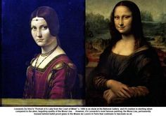 """Leonardo Da Vinci's """"Portrait of A Lady from the Court of Milan"""" c. 1490 is on show at the National Gallery  and it's realism is startling when compared to the alien, beguiling quality of the Mona Lisa. - However, it's Leonardo's most famous painting, the Mona Lisa, permanently housed behind bullet-proof glass in the Musee du Louvre in Paris that continues to fascinate us all."""