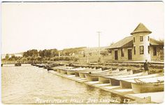 Rangeley-ME-Lake-House-Canoes-Boat-Landing-Real-1912 Photo-RPPC-Vintage-Postcard