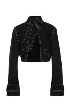 Cropped Cutaway Jacket With Contrast Topstitching by Alexander Wang for Preorder on Moda Operandi