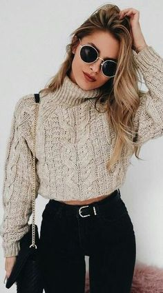 15 cute crop top sweater outfits for this winter 15 cute crop top sweaters . - 15 cute crop top sweater outfits for this winter 15 cute crop top sweater outfits for this winter - Winter Outfit For Teen Girls, Casual Winter Outfits, Stylish Outfits, Outfit Winter, Simple Outfits, Dress Winter, Sweaters Outfits, Cute Sweater Outfits, Pullover Outfits