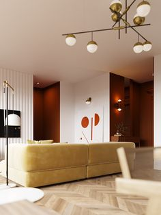 Warm toned home decor ideas, including a cosy red accent living room, a fiery orange and red bedroom, an earth toned dining area, and a sunny balcony design. Pendant Lighting Bedroom, Decor, Living Room Accents, Platform Bed Designs, House Design, Interior Design Guide, Interior Architecture Design, Interior Design, Red Accents Living Room