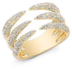 Anne Sisteron  14KT Yellow Gold Diamond Triple Horn Ring ($2,000) ❤ liked on Polyvore featuring jewelry, rings, accessories, joias, gold, trio rings, gold jewelry, wide-band diamond rings, wide-band rings and diamond rings