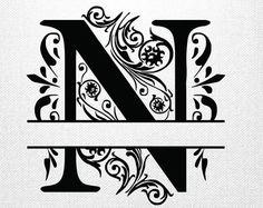 Split letter SVG Split Monogram Letters Split by svgcutdesigns