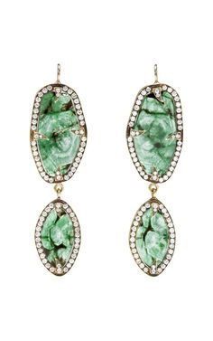 Emerald And Diamond Earrings by Sylva & Cie for Preorder on Moda Operandi