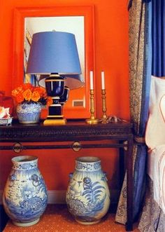 Wow! This just might keep you up at night. But, it works. French Tangerine and Electric Blue.