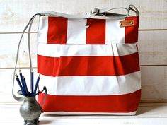 WATER PROOF  Diaper bag / Beach tote Stripes Canvas Stockholm Red and White- 10 Pockets