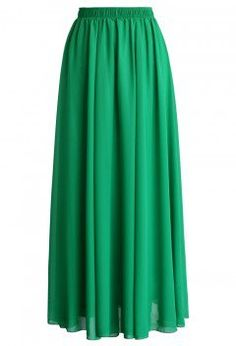 Emerald Green Chiffon Maxi Skirt - CHICWISH SKIRT COLLECTION - Skirt - Bottoms - Retro, Indie and Unique Fashion