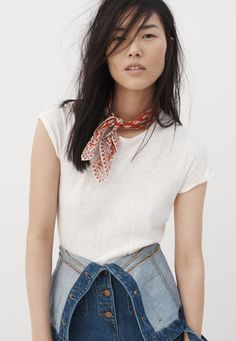 Image result for How to tie a bandana around neck madewell style