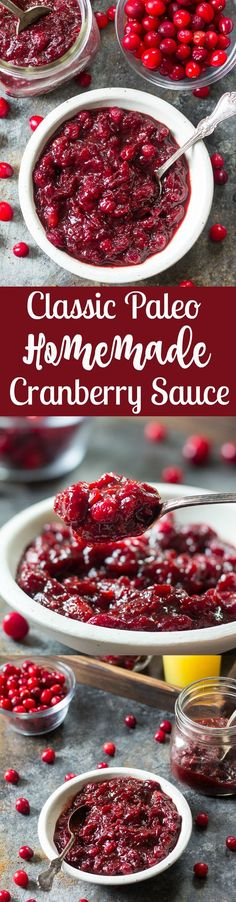 Simple and Classic homemade paleo cranberry sauce recipe that's a family favorite! I make this anytime, not just for the holidays and it's a great sweet treat for pancakes, ice cream, and very kid friendly paleo diet for kids Paleo Recipes, Real Food Recipes, Cooking Recipes, Paleo Sauces, Juice Recipes, Sweets Recipes, Free Recipes, Desserts, Paleo Cranberry Sauce