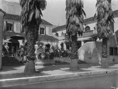 (1930s)* - Exterior of the entry and court of the Pasadena Playhouse, designed by architect Elmer Grey in Spanish Colonial Revival style and built in 1924-1925.  Water and Power Associates