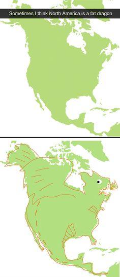 North America looks like a fat dragon…